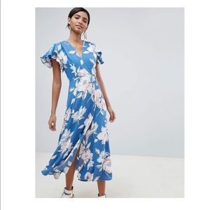 FRENCH CONNECTION BLUE FLORAL MIDI